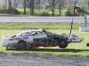 Travis Fadden's car was badly damaged after a high speed trip off the backstretch