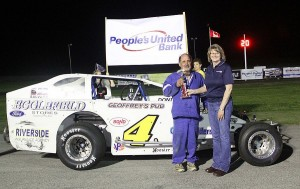 Leon Gonyo posted a victory in the Twin 25s at the People&#039;s United Bank Memorial Day Special at Devil&#039;s Bowl Speedway in 2012.  (MemorEvents photo)