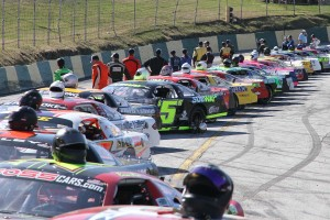 30 ACT Late Model Stock Cars lineup for the season-opening Merchants Bank 150 at Barre&#039;s Thunder Road.  The Mekkelsen RV Memorial Day Classic on Sunday, May 26 will serve as the first Vermont State Championship Series race, and the kickoff to the King of the Road title chase.  (Photo Credit: Leif Tillotson)