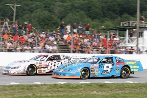 Barre's Nick Sweet (#88) and Graniteville's Chip Grenier (#9) will slug it out for the Vermont State Late Model Championship at Devil's Bowl Speedway on Sunday. (MemorEvents photo)