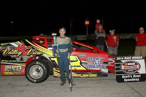 Jason Durgan of Morrisonville, NY was a first-time winner in the Bond Auto Parts Modified division at Devil's Bowl Speedway.  (MemorEvents photo)