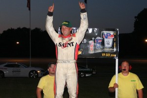 Barre's Nick Sweet celebrates his VT Governor's Cup 150 win in victory lane. (Photo by Alan Ward)