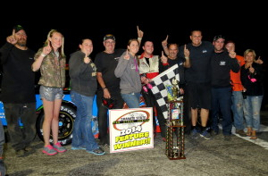 Hudson Hugger, Brad Babb and crew in Victory Lane  (Cryastal Snape Photo)