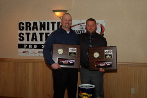 Owner Mark Brackett & Driver Dillon Moltz Acept there Champinship awards. (Carrie Kelly Photo)