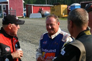Ray Miller (L) chats withg Ken Schrader(center) & Scott Viets (right)