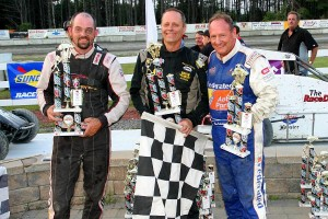 USAC Dirt Midget Victory lane with Adam Pierson (2nd), Scott Viets (1st), Ken Schrader (3rd)