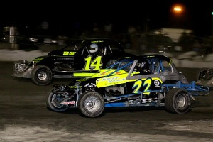 Tom Placey (22) & Mitchell FRost (14) in Sportsman Coupe action
