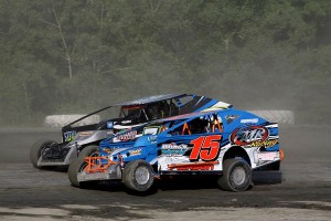 Adam Pierson (15) & Kevin Chaffee (73) in Sportsman Modified action