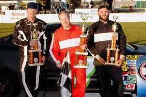 Ironman first feature top 3 - Wayne Osborne, winner Adam Knowles, Jeff Nadeau.