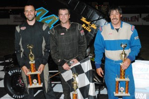 Supermodified top 3 - Kyle Sawyer, winner Mike Murphy, Mike Spurling.