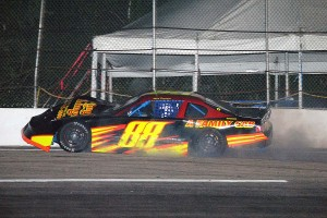 Mark Parenteau clobbers the wall in the LMS main.