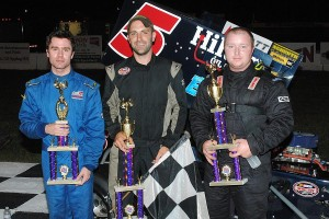 Supermodified top 3 - Jake Stergios, winner Kyle Sawyer, Lance Barthelemy.