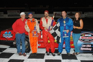 David and Annette Joyce of David's Race Cars join the Hobby Stock top 3 - Billy Clement, winner Jim Piaseczny, Dennis Dumas.