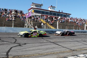 60 DJ Shaw beats 7 Tyler Church to the finish line to win 9th Annual Easter Bunny 150 Sunday afternoon at Hickory Motor Speedway.