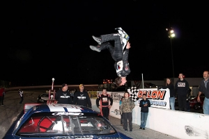 Daniel Hemric does a back flip in Victory Lane
