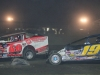 Hunter Bates (69) and Jessey Mueller (19) race for position in the OctoberFast 100 at Canaan Dirt Speedway.