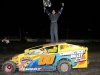 Jason Gray celebrates his win in the OctoberFast 100 at Canaan Dirt Speedway.
