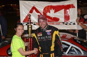 Newport, NH's Kyle Welch in victory lane at Riverside Speedway in Groveton, NH on Saturday, June 7. (Photo by Eric LaFleche)